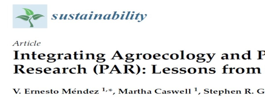 New Publication on Agroecology and Participatory Action Research (PAR) by ALC members