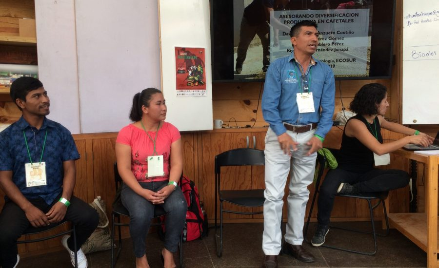 Community facilitators presenting at a panel at the 1st Mexican Conference of Agroecology in San Cristóbal de las Casas, Chiapas, Mexico (2018). Photo: Janica Anderzén