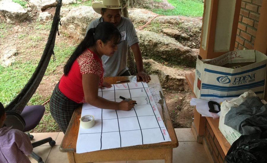 Focus group participants identifying risks, strengths and vulnerabilities in the department of Copán, Honduras, 2015. Photo: Ernesto Méndez