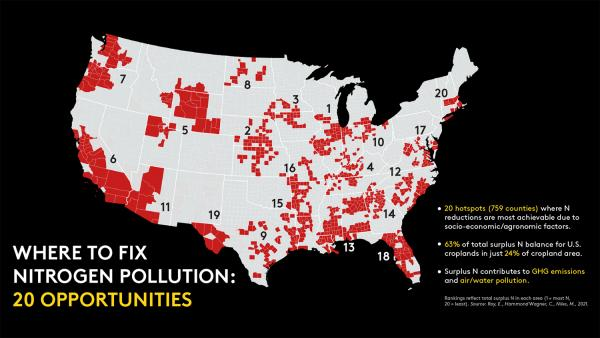 Map showing 20 key areas where nitrogen reduction efforts should be targeted.