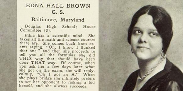 Ariel 1930 yearbook page, featured Edna Hall Brown