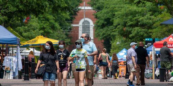 Mask wearers on Church Street in Burlington.