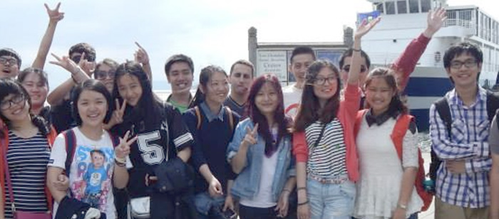 International students about to take a ferry ride on Lake Champlain