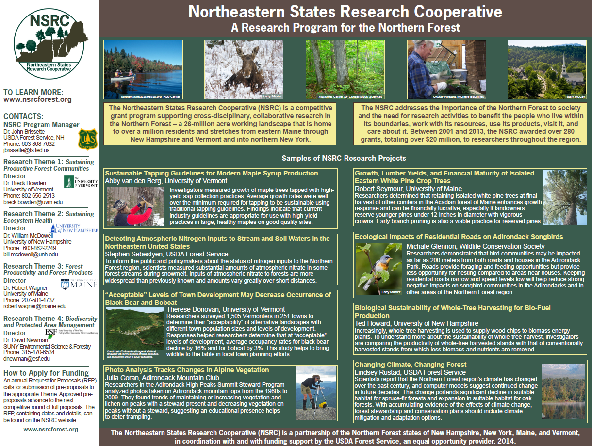 Thumbnail of USDA Forest Service Northern Research Station, University of Vermont, University of New Hampshire, University of Maine, SUNY College of Environmental Science & Forestry Poster