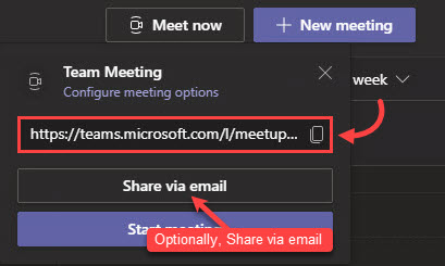 Copy and share the meeting link using a normal Outlook meeting invitation or through some other means. You can also clickShare via emailto automatically open a new email with the link included.