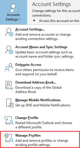 "Location of ""Manage Profiles"" menu entry."