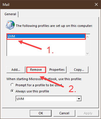 Sequce for removing profile