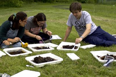 Students on lawn looking at water samples