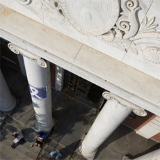 Looking down the columns of the Waterman Building, built 1941.