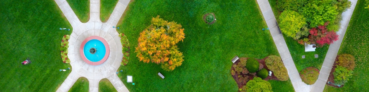 Arial view of University Green at UVM