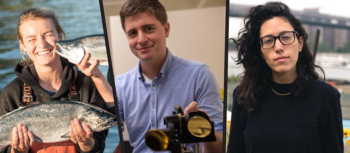 Alumna Claire Neaton; Professor Michael Ruggiero; and alumna Ariel Wengroff