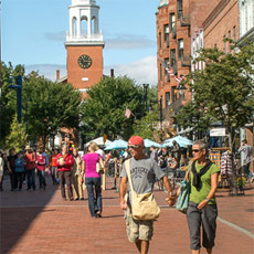 The hustle and bustle of Church Street in downtown Burlington.