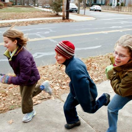 Children running.