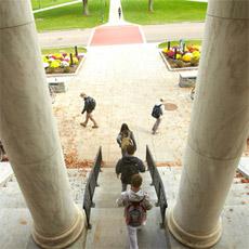 students leaving Waterman building