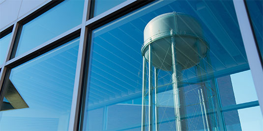watertower in reflection