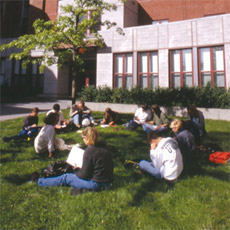 Students working on the UVM green