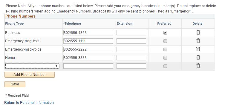 You can use text, voice, and TTY options but must select them and add the number.