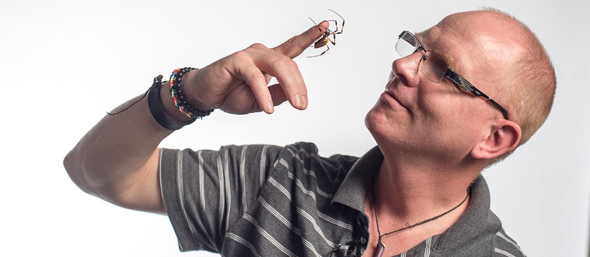 Ingi Agnarsson with spider