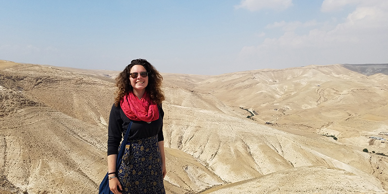 Dumont hiking in Jordan, the place where she'll see out her Fulbright grant