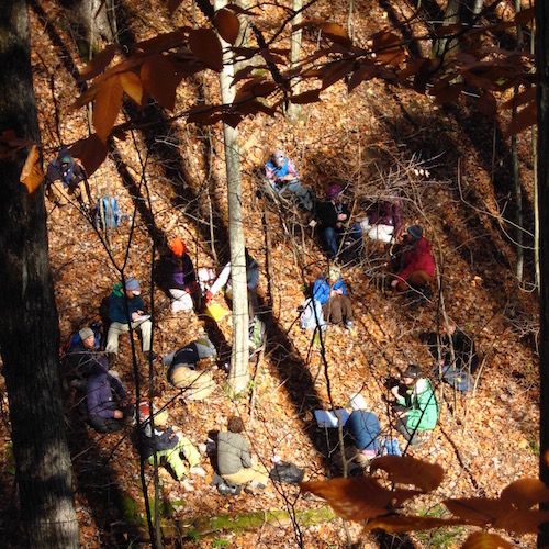 students sitting in a circle in an autumn forest