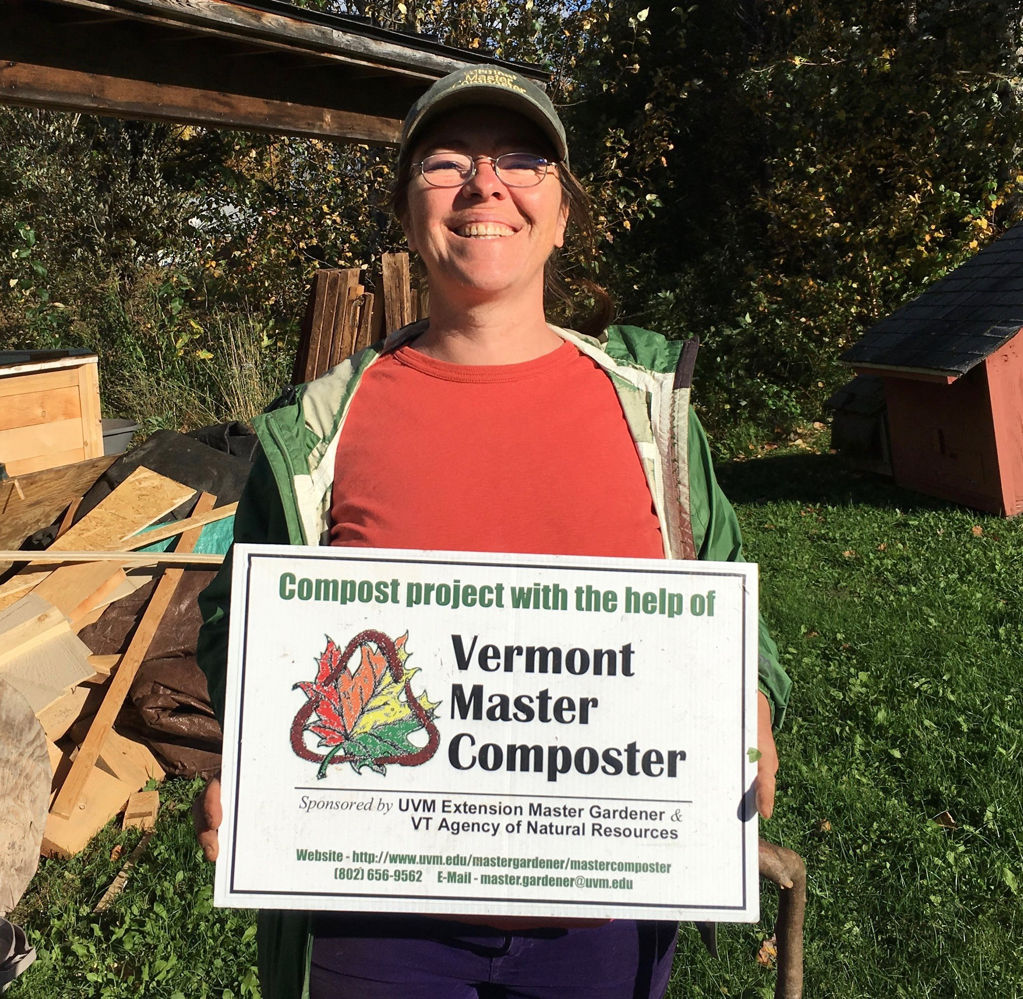 volunteer with a sign
