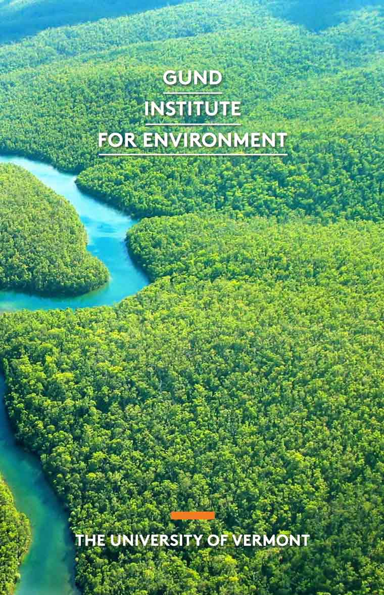"Aerial photo of Amazon with title ""Gund Institute for Environment"""
