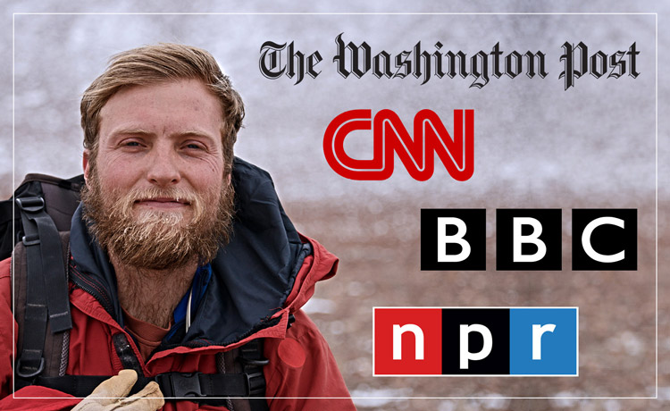 Image of Gund Fellow Drew Christ with Washington Post, CNN, BBC, and NPR logos.