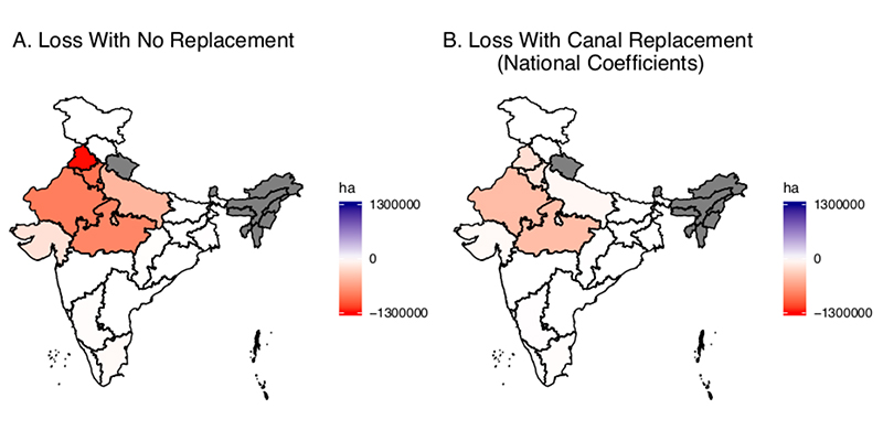 Maps showing state-by-state Indian winter cropped area loss estimates due to groundwater depletion in coming decades, with and without replacement by canals.
