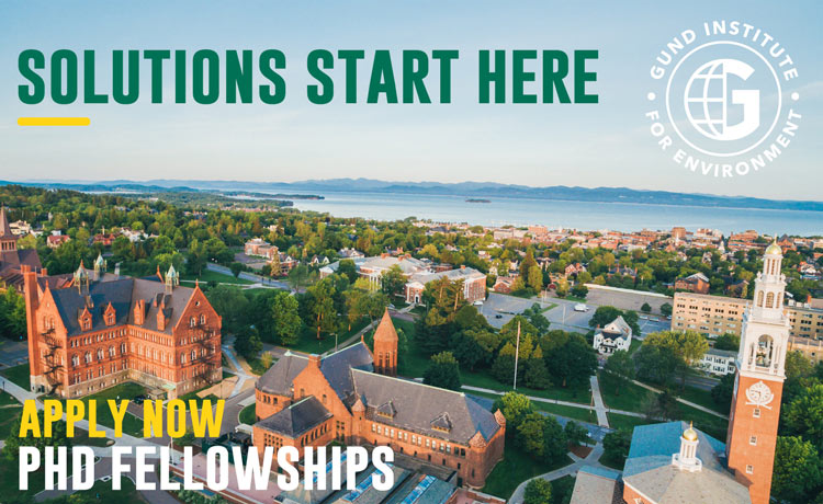 "Aerial image of UVM Campus with text ""Solutions start here - apply now: PhD Fellowships"""