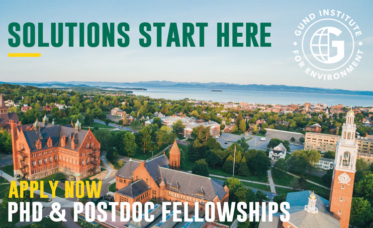 "Aerial photo of UVM with text ""Solutions Start Here: Apply Now For PhD and Postdoc Fellowships"""