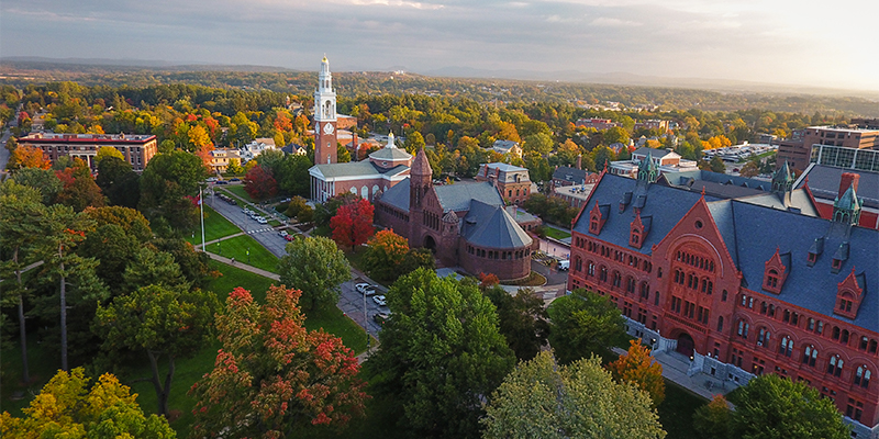 An aerial image of the University of Vermont campus