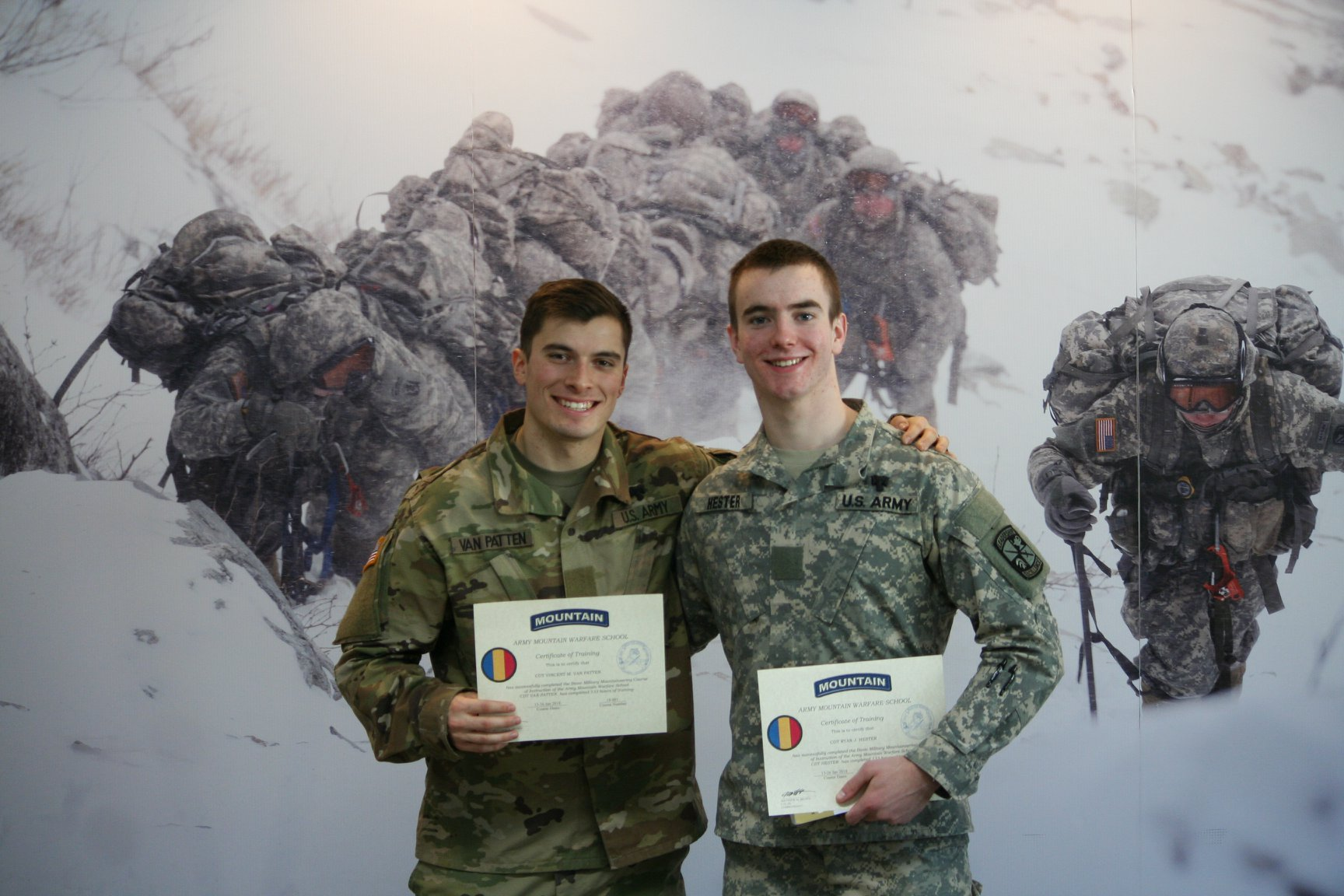 Cadets Van Patten and Hester graduate from Mountain Warfare school.