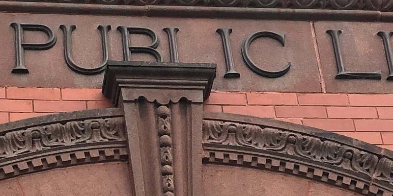 Detail of stone facade of Randolph library
