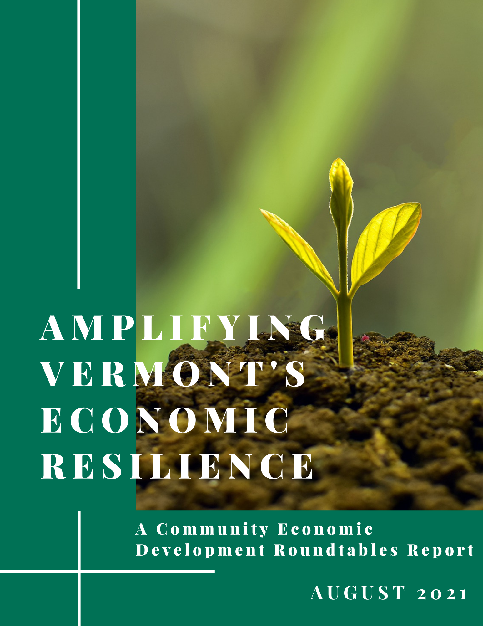 Front cover of Roundtable Report with title and a sprouting leaf image to the right