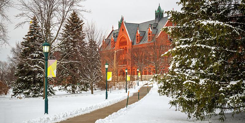 campus walkway in winter