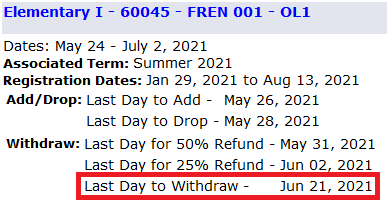 example showing withdrawal dates for a particular course