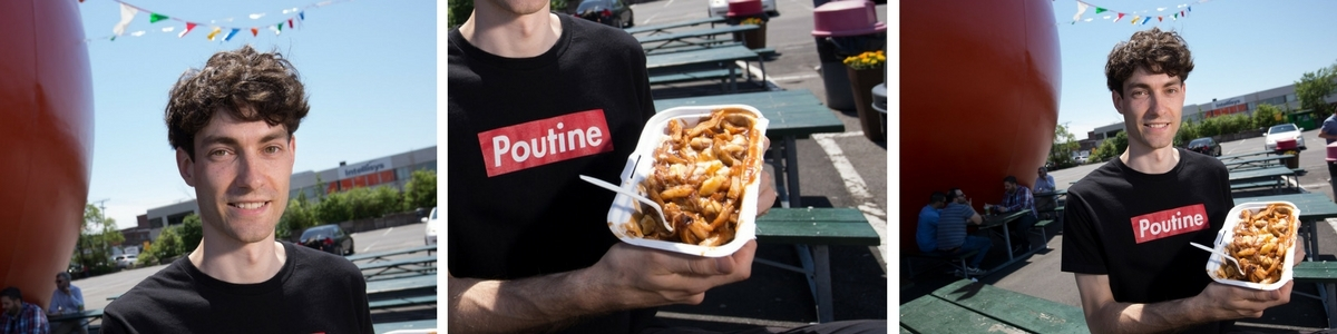Student researcher with poutine