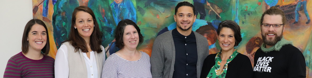 Members of UVM's interdisciplinary restorative practices research team, from left to right: Mika Moore, Bernice Garnett, Colby Kervick, Quin Gonell, Tracy Ballysingh, and Lance Smith.