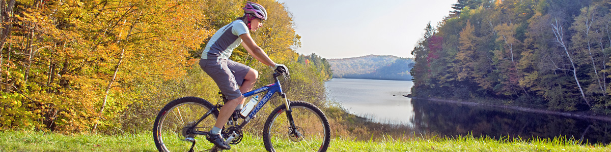 Mountain biker on recreation trail