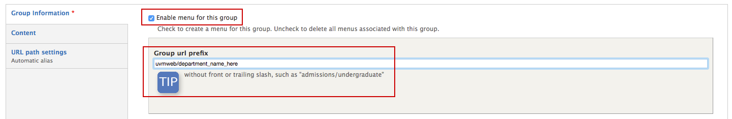 Make sure that menu is enabled for the group. The group URL prefix will begin with uvmweb as long as your site is in a pre-launch state.