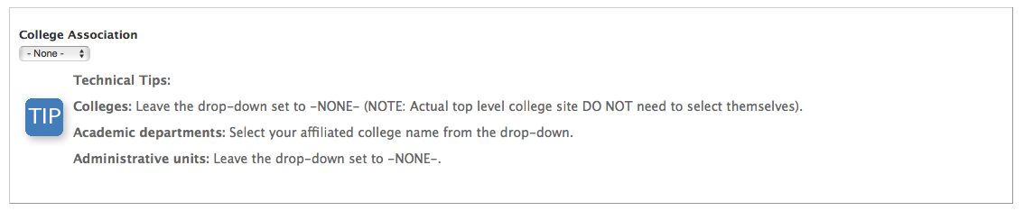 """If you are an academic group, select your college affiliation from the dropdown menu under """"college association."""""""
