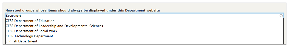 """Start typing a news tool group name in the """"Newstool groups whose items should always be displayed under this Department website"""" field and select the correct group from the list."""