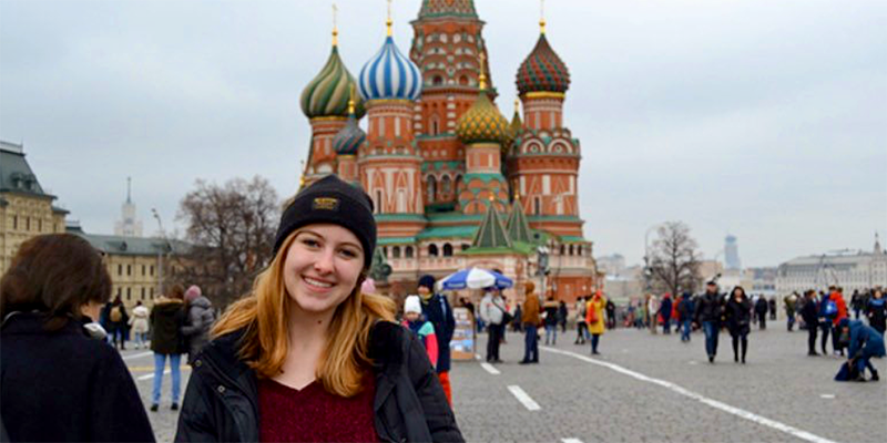 Emily Bruggeman '20 during a semester abroad in Russia