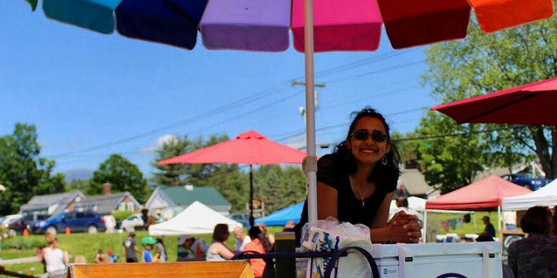 Arealles Ortiz at her popsicle stand