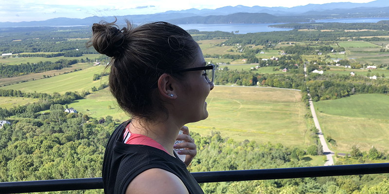 Getting down to Mount Philo for a hike, sometimes with her sisters from Delta Delta Delta sorority, was a favorite break from studies for Samantha Serrantonio.