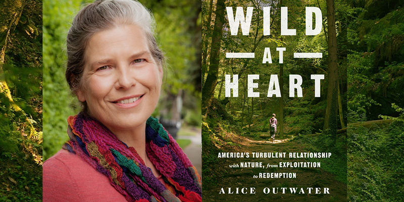 "Alice Outwater and her book cover for ""Wild at Heart"""