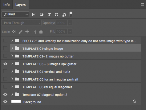 A view of the Photoshop layers in the banner template file