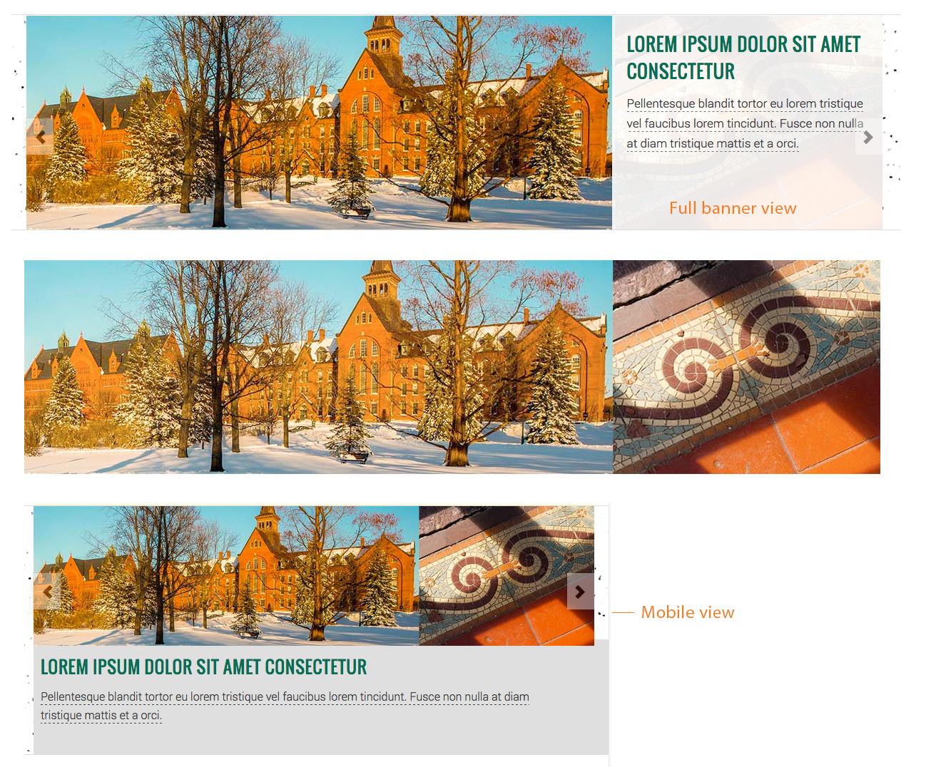 Example of a home page banner composed of 2 images that makes good use of an architectural texture under the caption area.