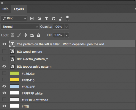 Layers in photoshop for a few patterns.