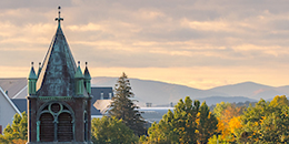 UVM cuppola with the adirondacks in the background